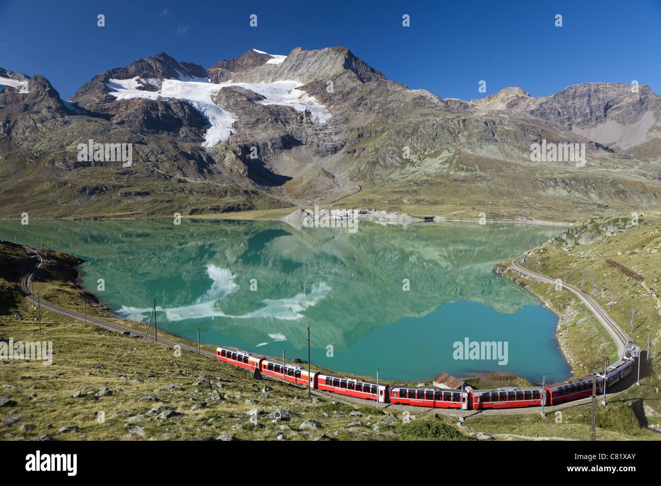 bernina express train at bernina pass - Stock Image