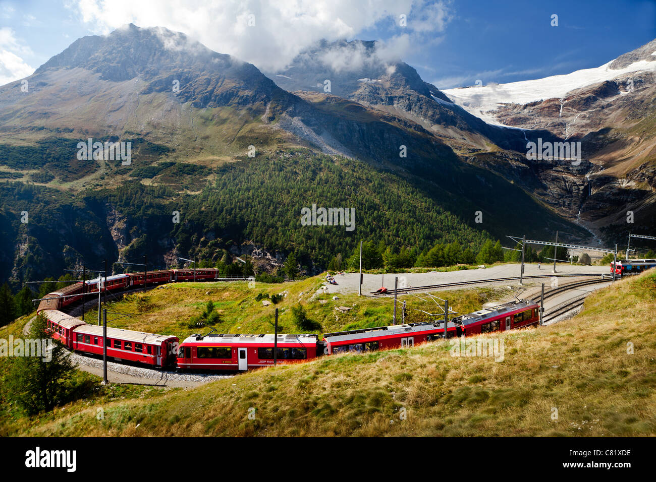 Bernina Express Train in Switzerland - Stock Image