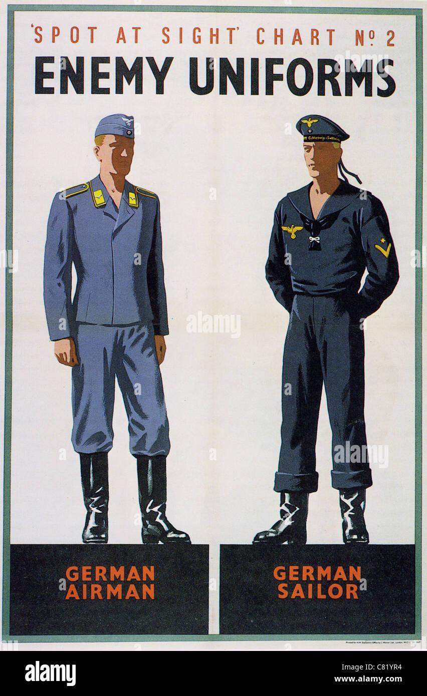 SPOT AT SIGHT CHART NO 2 ENEMY UNIFORMS - British WW2 poster - Stock Image