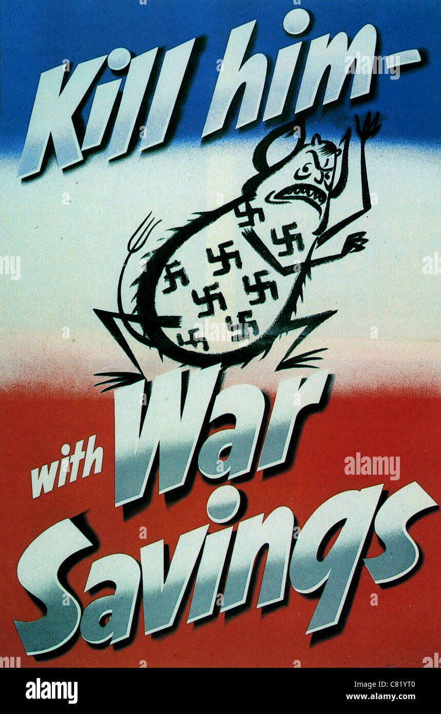 KILL HIM WITH WAR SAVINGS British WW2 poster - Stock Image