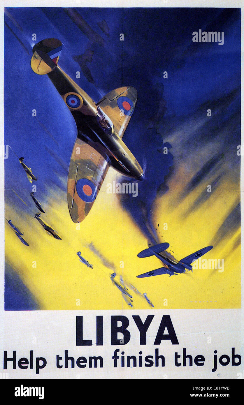LIBYA - HELP THEM FINISH THE JOB British WW2 poster showing Spitfire downing a German bomber during the North Africa - Stock Image