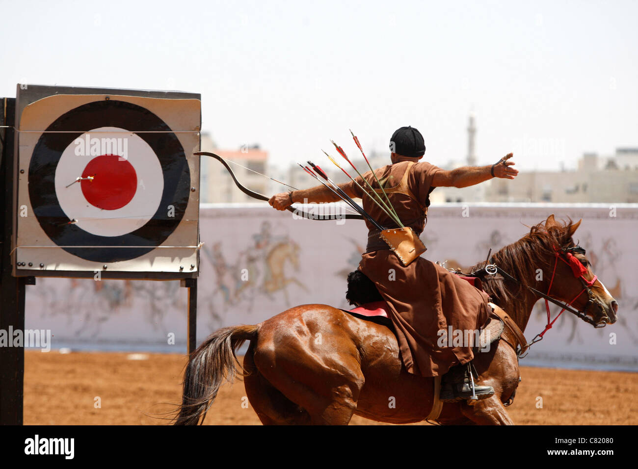Participant compete competition horseback archery man horse - Stock Image