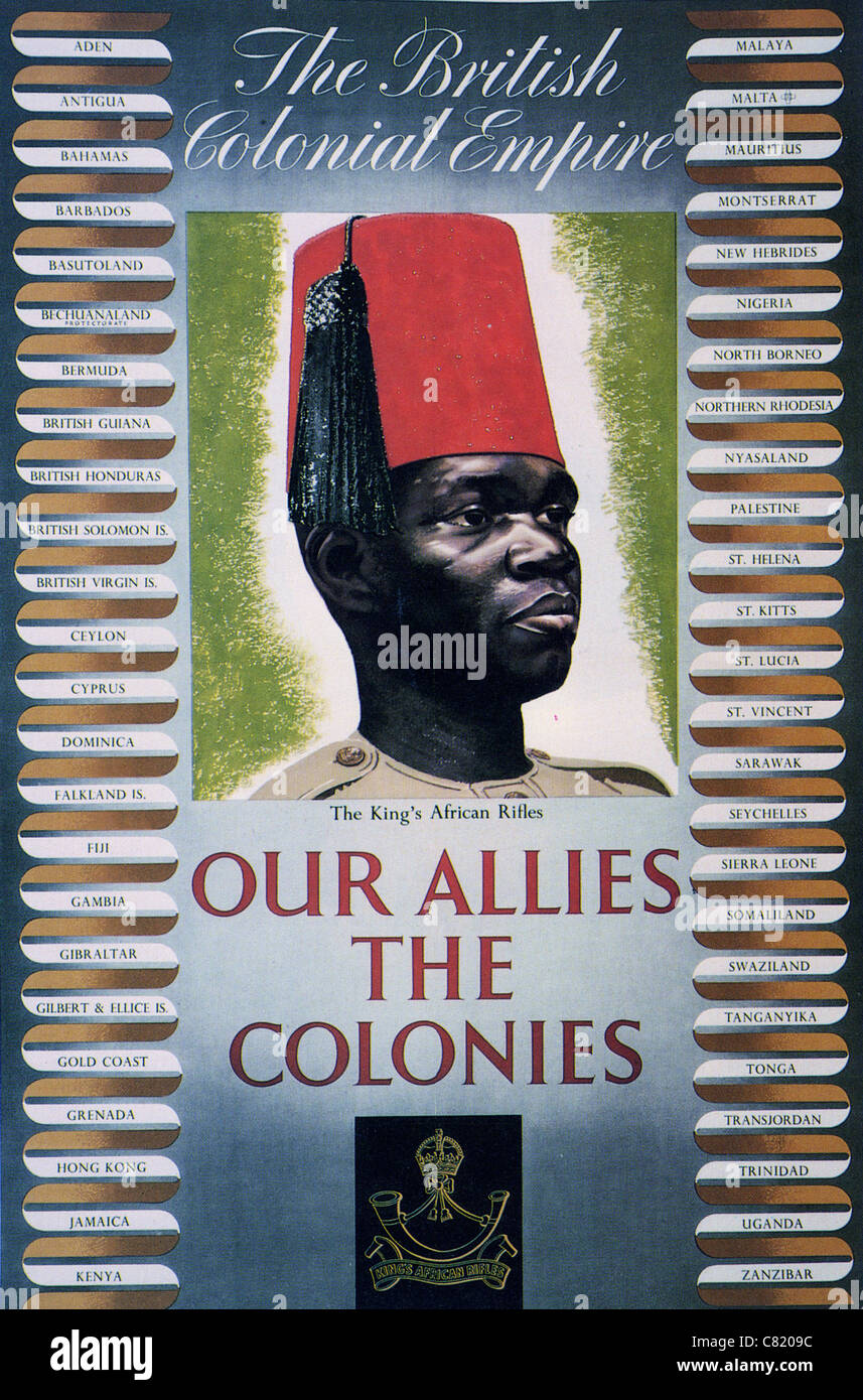 OUR ALLIES THE COLONIES - British WW2 poster emphasising the contribution of the British Commonwealth - Stock Image