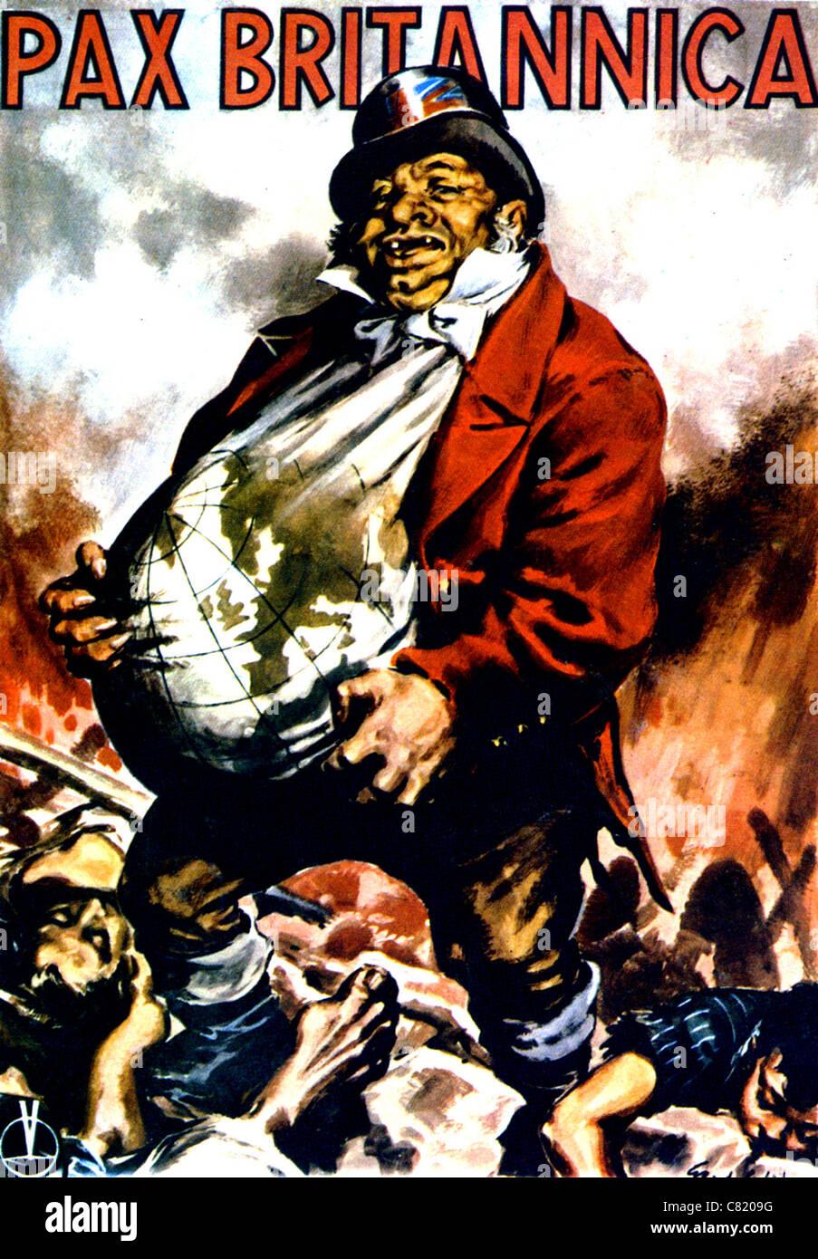 PAX BRITANNICA  Italian WW2 poster showing John Bull seeking to dominate Europe - Stock Image