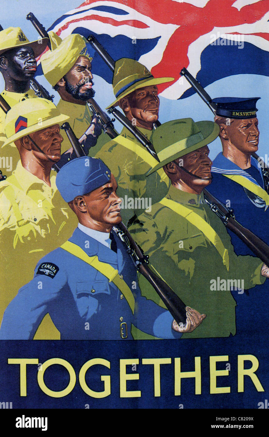 TOGETHER  British WW2 poster showing Commonwealth armed forces - Stock Image