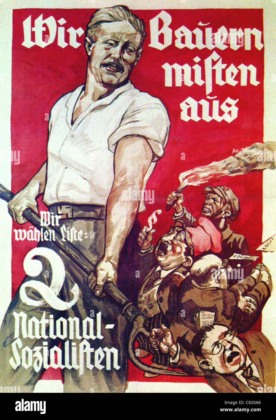 NATIONAL SOCIALIST poster for 1932 German elections. See Description below - Stock Image