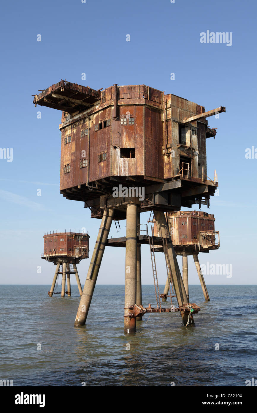 Maunsell sea forts. Red Sands sea forts Thames estuary, they are now abandoned - Stock Image