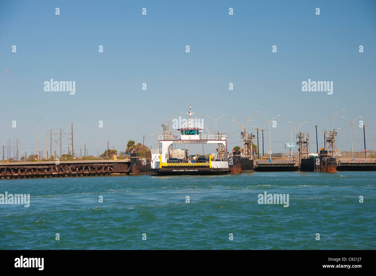 Ferry Dock at the Gulf of Mexico - Stock Image