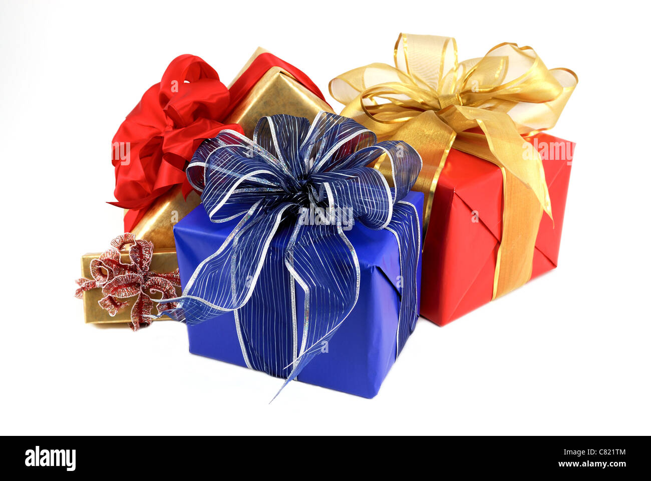 Christmas Gift Packages.Four Gift Wrapped Christmas Packages On A White Background