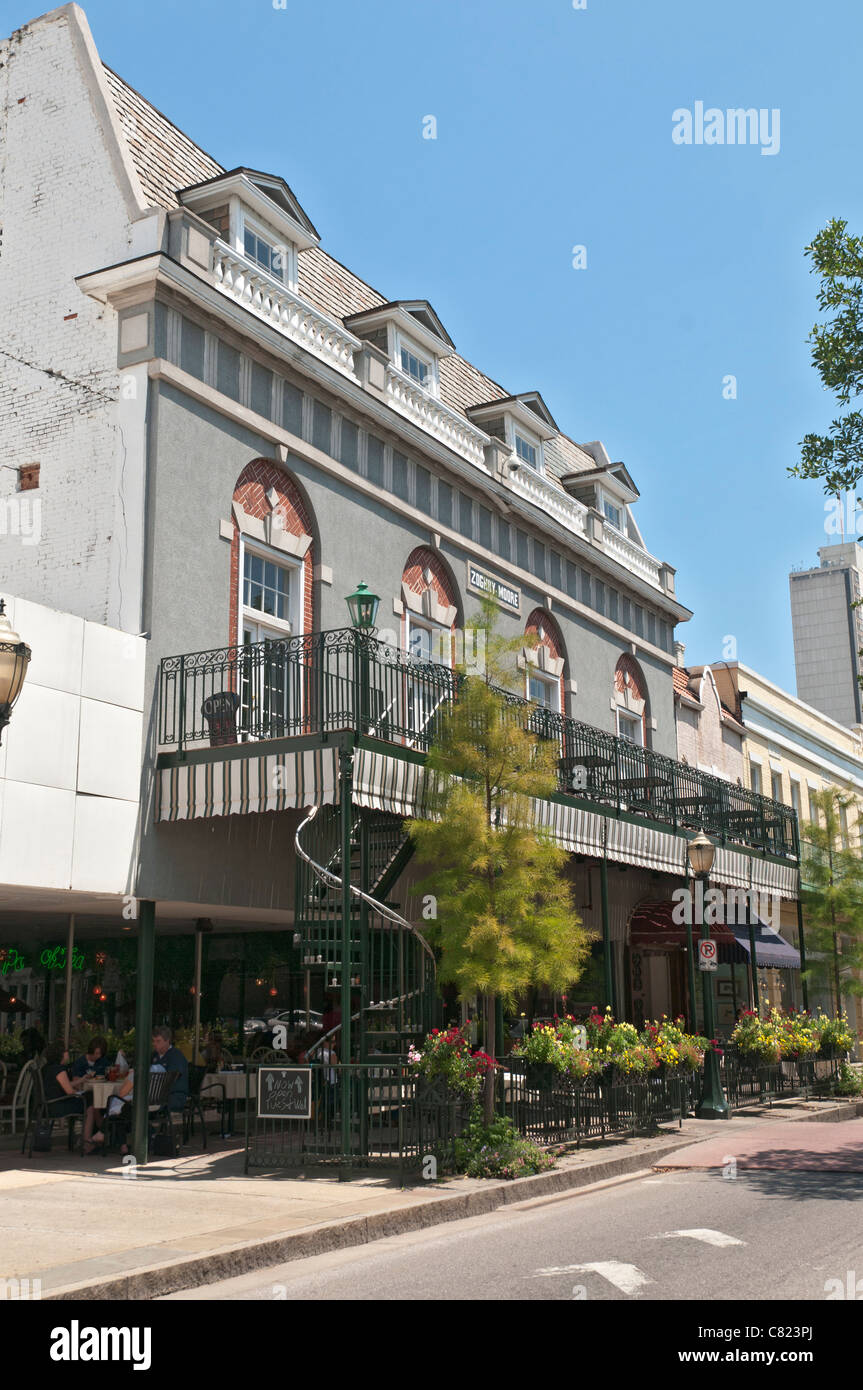 Alabama, Mobile, Historic Downtown, Dauphin Street, sidewalk cafe restaurant - Stock Image