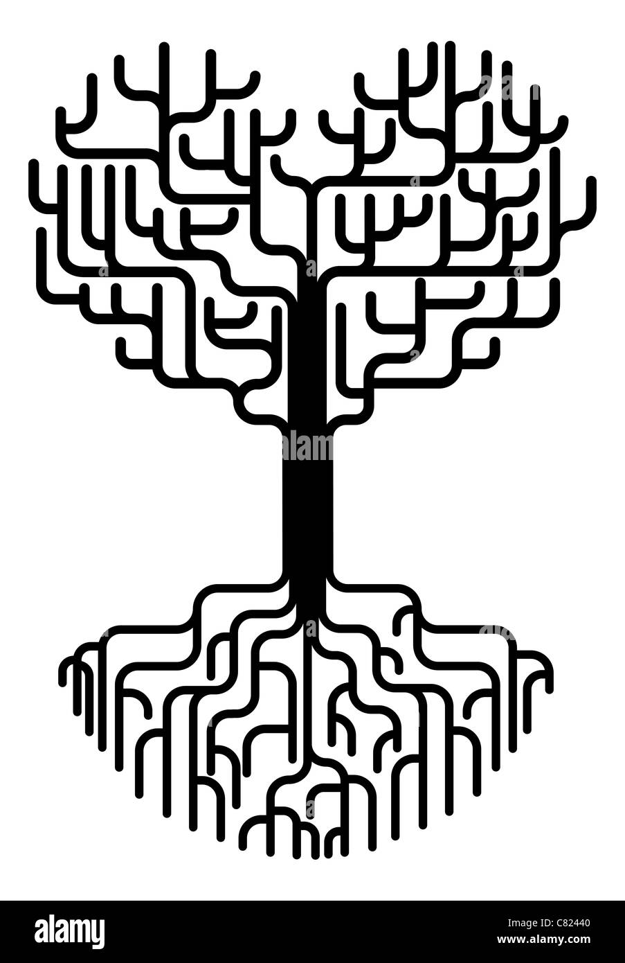 Tree with branches in the shape of a heart with strong roots. Love needing strong foundations or just concept for - Stock Image