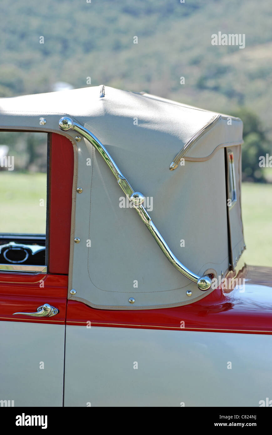 Detail of Hinge on vintage cabriolet automobile - Stock Image