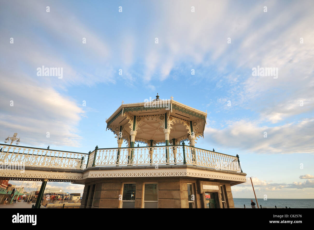 The recently renovated Victorian Brighton Bandstand (Birdcage), Brighton seafront, East Sussex, UK - Stock Image