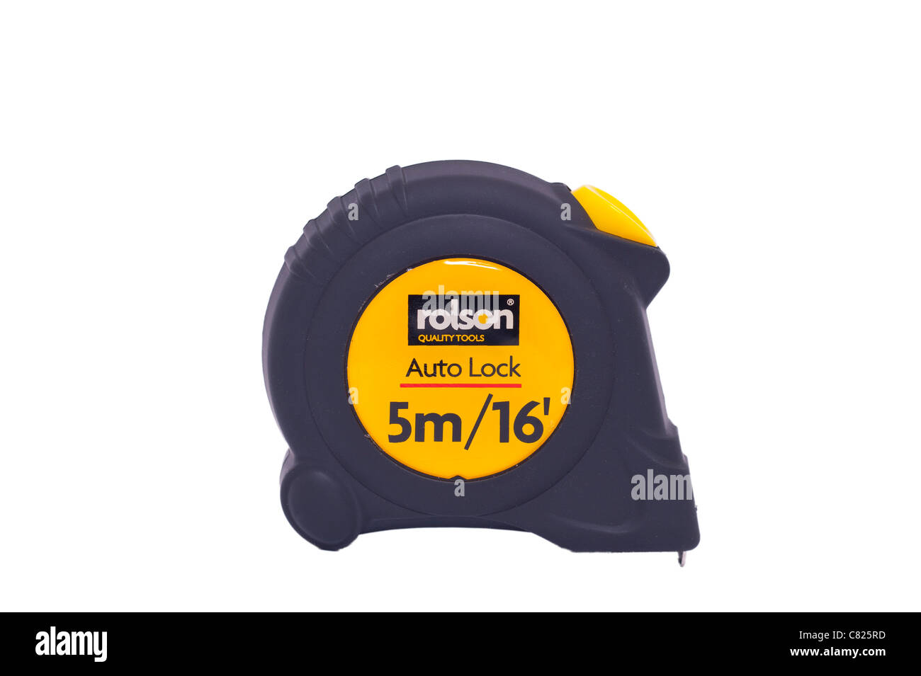 A rolson 5 metre tape measure on a white background - Stock Image