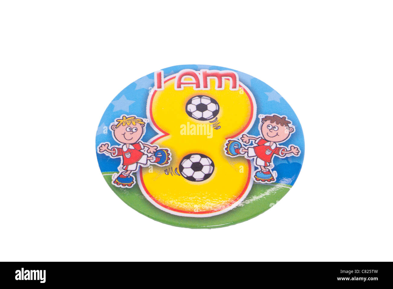 A birthday badge for an eight year old on a white background - Stock Image