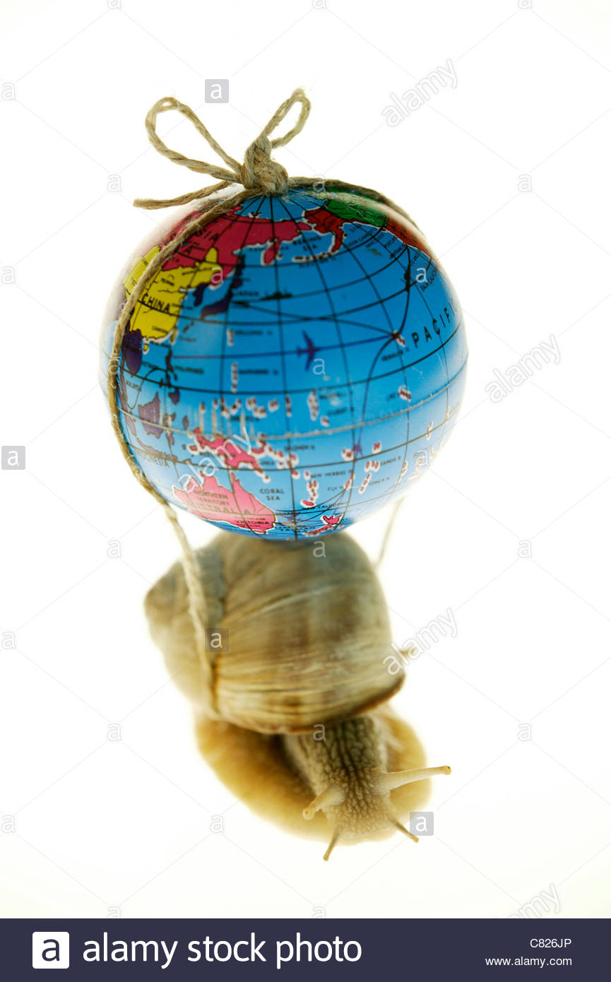 Snail carrying globe - Stock Image