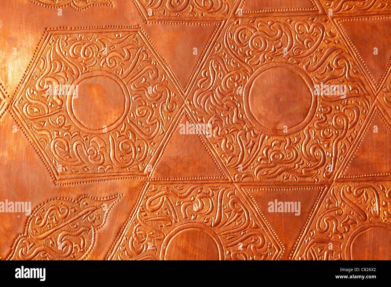 Brass cooper with embossed shapes from arabia - Stock Image
