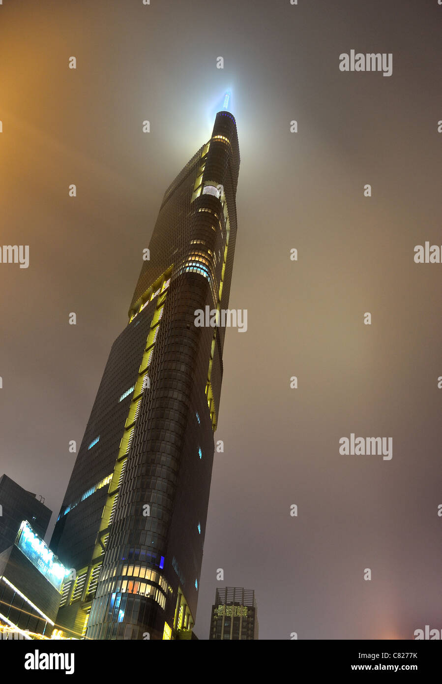 Night view of the Intercontinental tower, the highest building in Nanjing, China - Stock Image