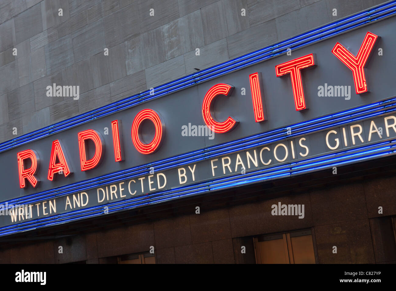 A neon sign at Radio City Music Hall in New York City. - Stock Image