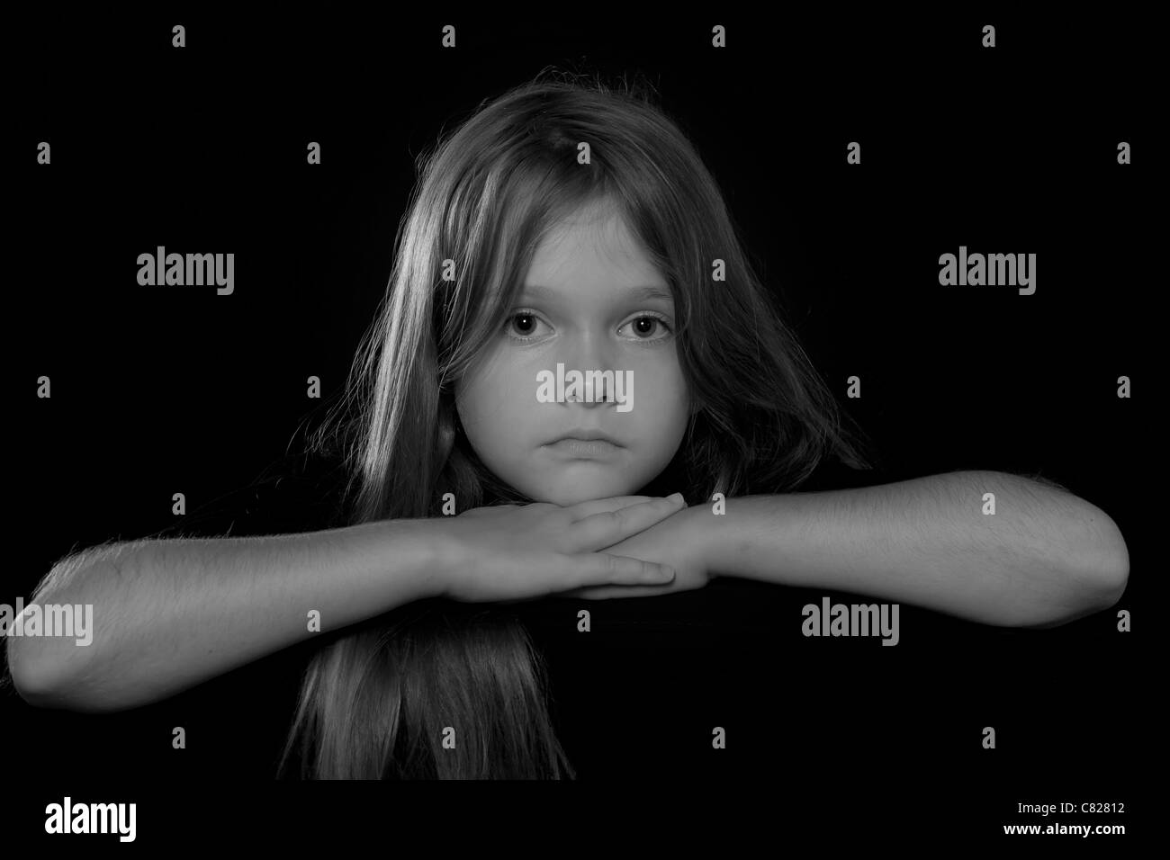 Portrait of an eight-year-old girl Stock Photo