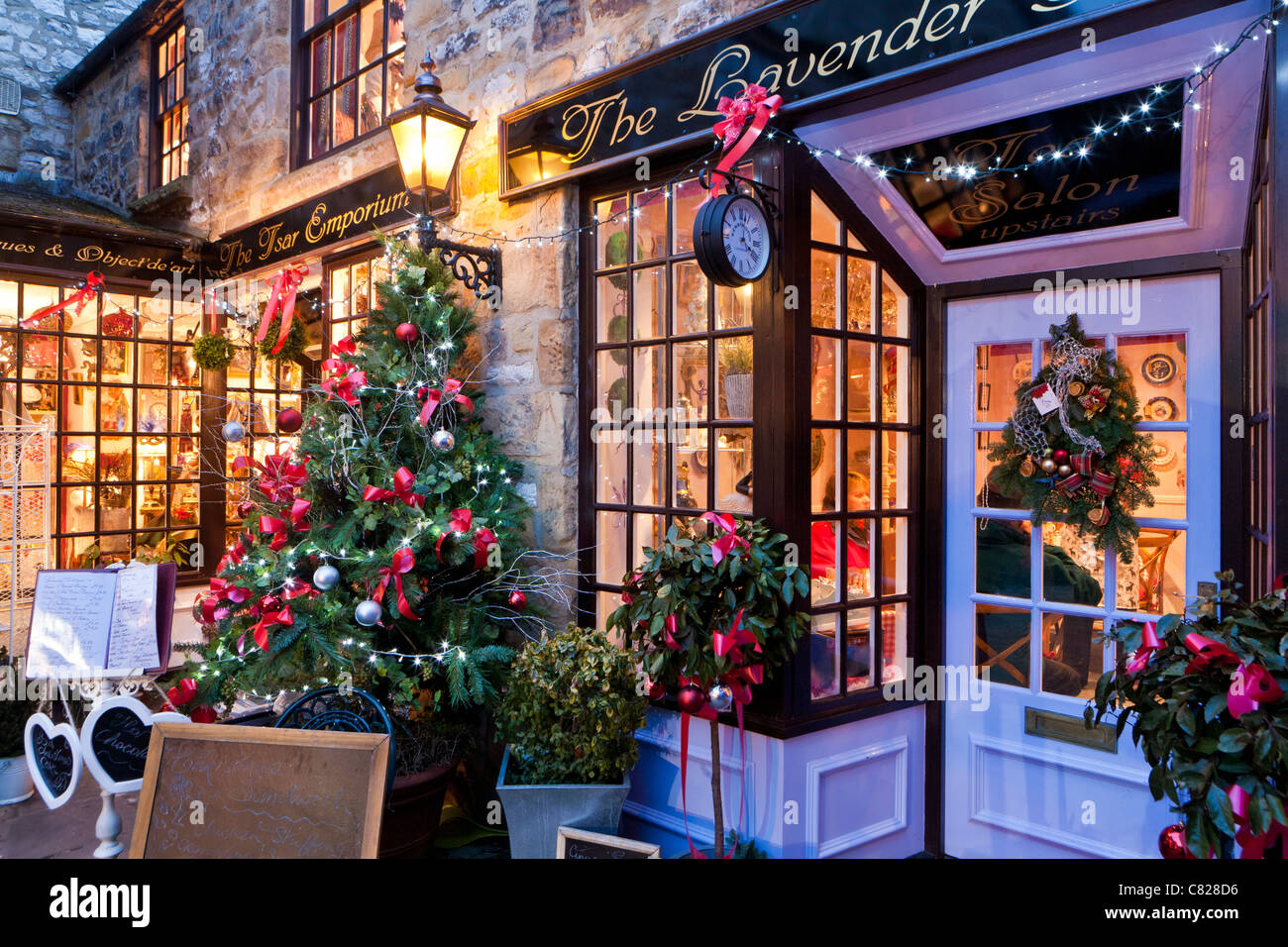Christmas In England.Shops Decorated For Christmas Bakewell Derbyshire England