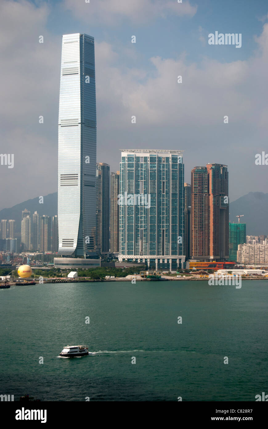 Kowloon and Victoria Harbour, Hong Kong - Stock Image