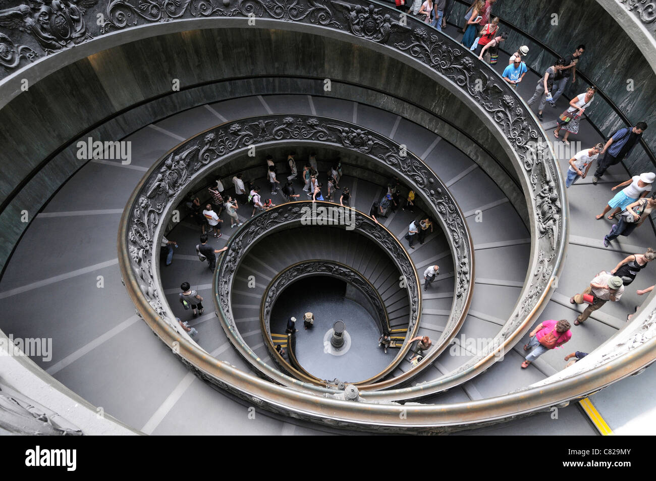 Spiral staircase in the Vatican Museums, Vatican City, Rome, Italy - Stock Image