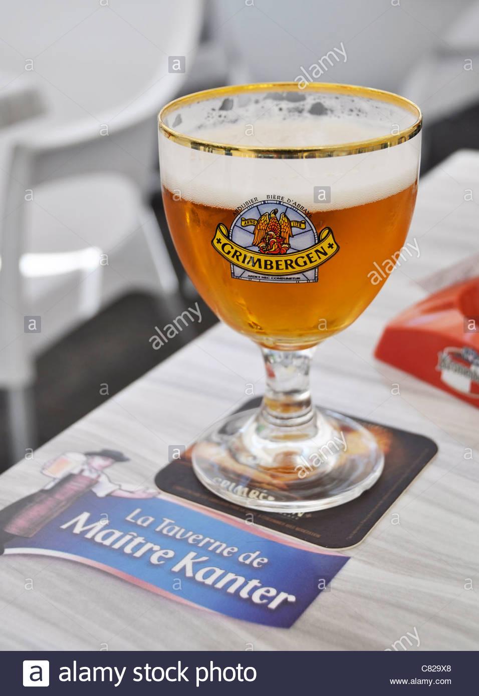 Grimbergen beer served in La Taverne de Maître Kanter Stock Photo