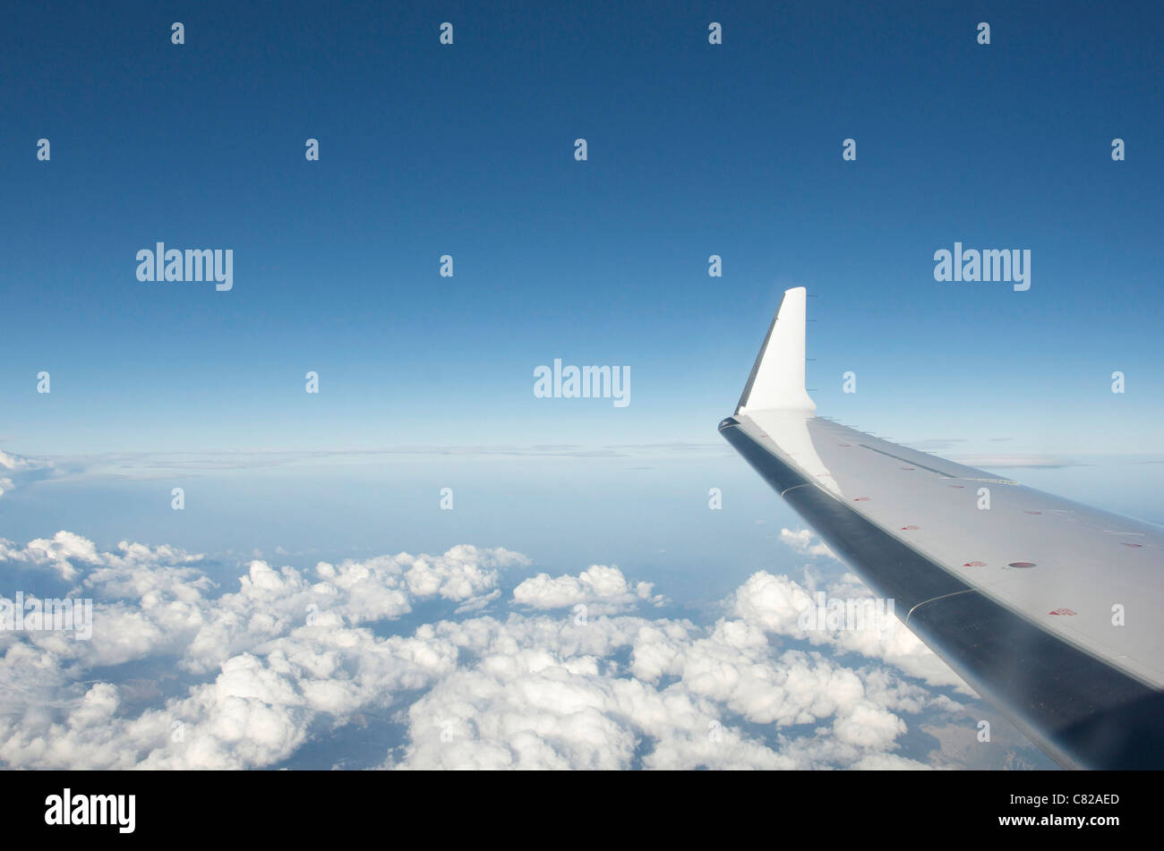Wing tip of airplane. - Stock Image