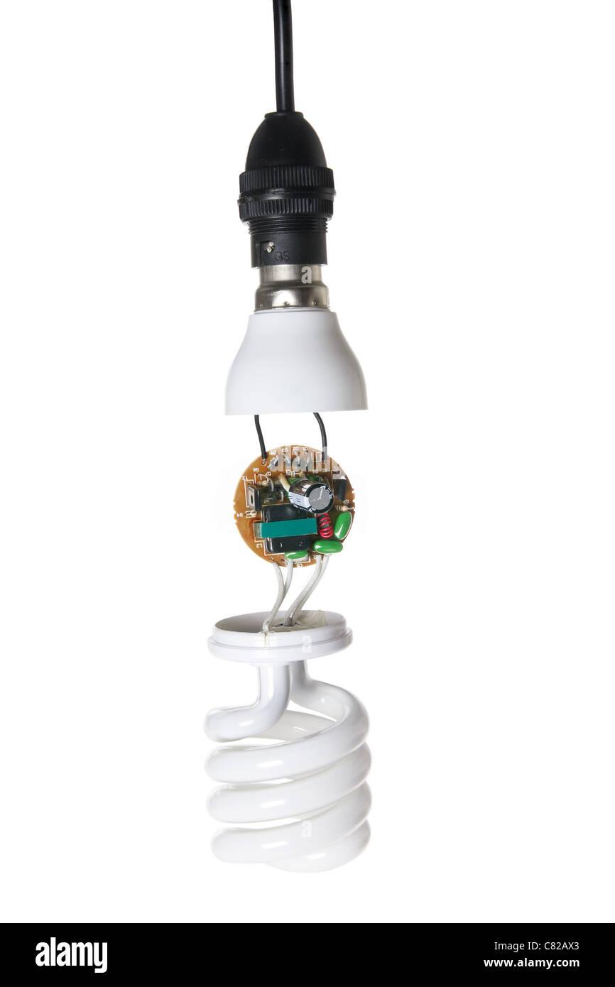 Broken Compact Fluorescent Bulb - Stock Image