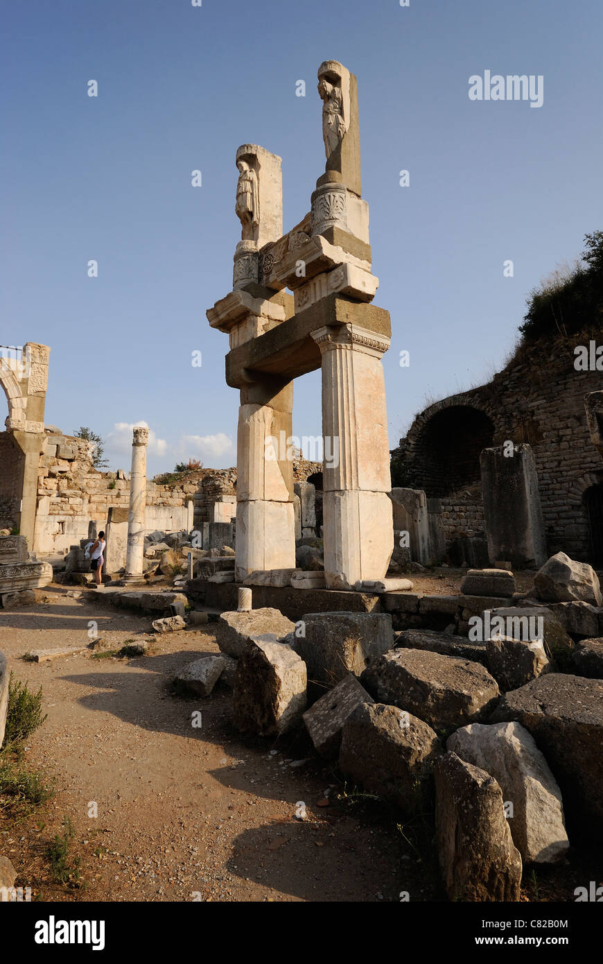 Ephesus, Domitian Square, remaining columns and marble carvings of the Fountain and Temple of Domitian, Ephesus, - Stock Image