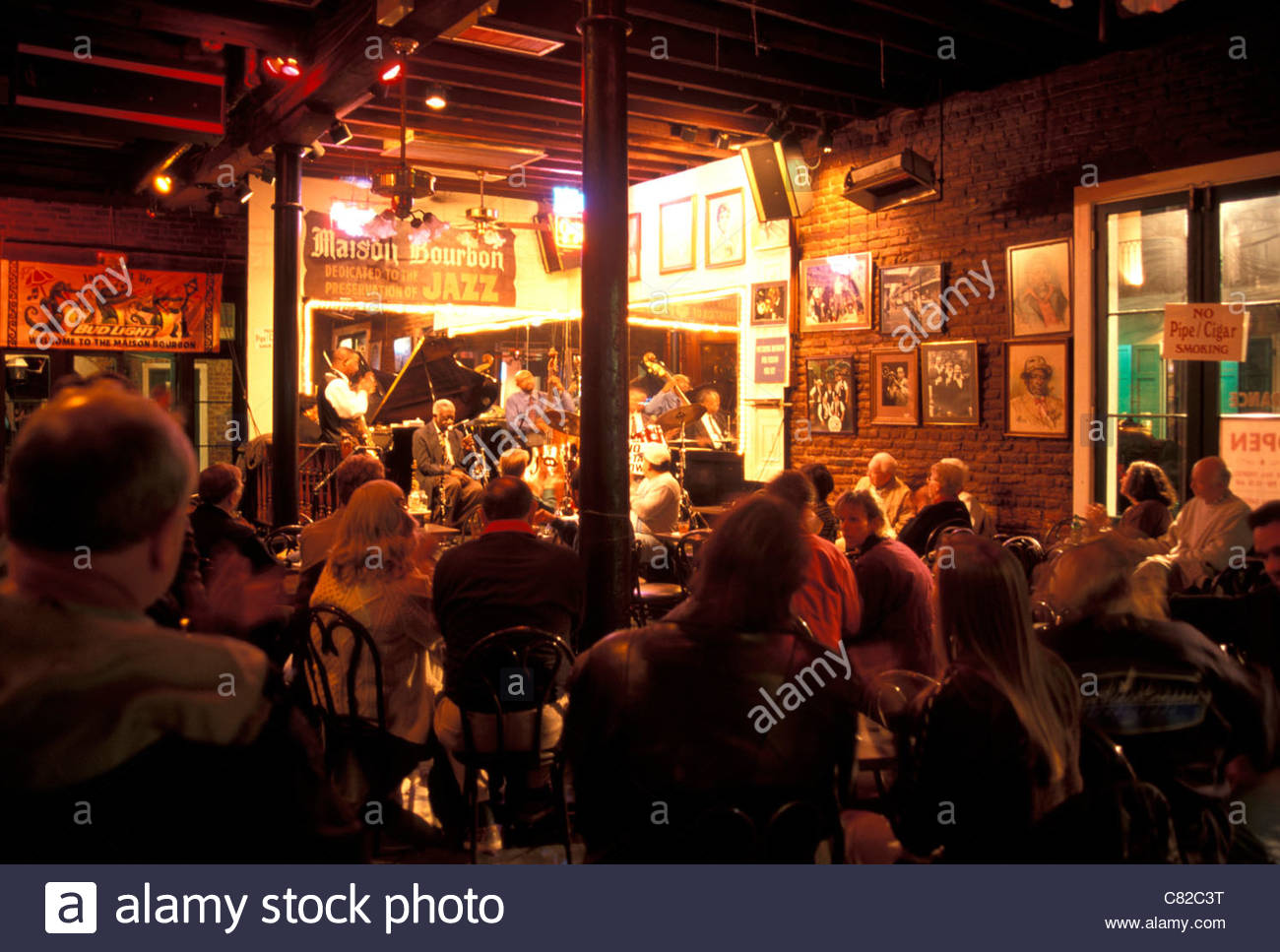 Jazz band and patrons in maison bourbon jazz club french quarter new orleans louisiana usa