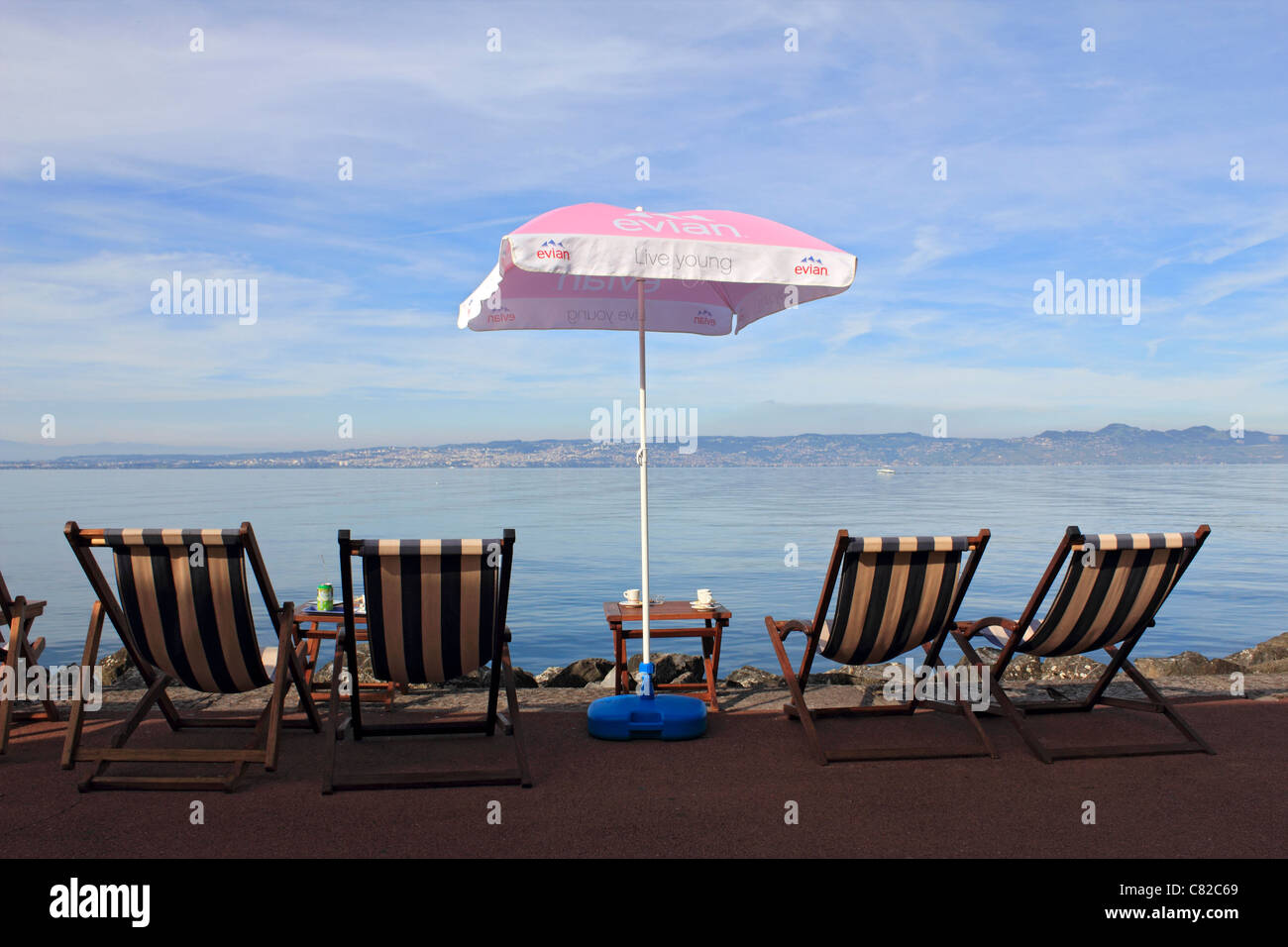 Évian-les-Bains, on Lake Geneva in Haute-Savoie department of the Rhône-Alpes region in south-eastern - Stock Image