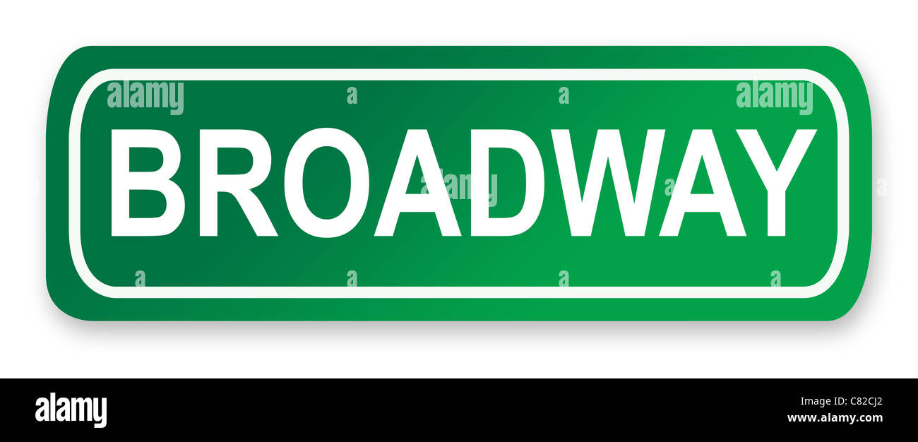 Broadway street sign; isolated on white background, New York City, America. - Stock Image