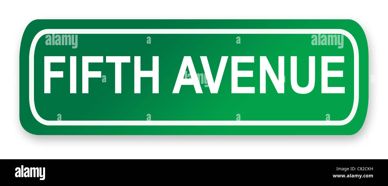 Fifth Avenue Street Sign isolated on white; New York City, America. - Stock Image