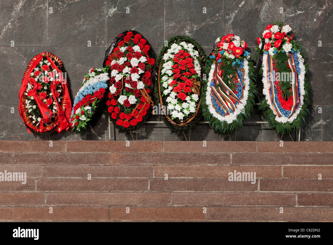 Wreaths for the Soviet World War II victims at Victory Park in Moscow, Russia Stock Photo