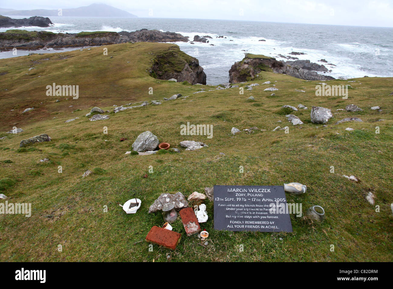 Polish Memorial to Marcin Wilczek on Achill Island - Stock Image