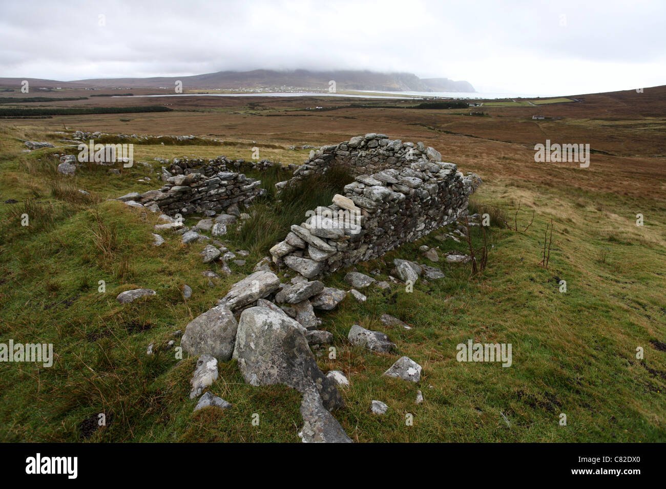 The Deserted Village of Slievemore on Achill Island in County Mayo - Stock Image