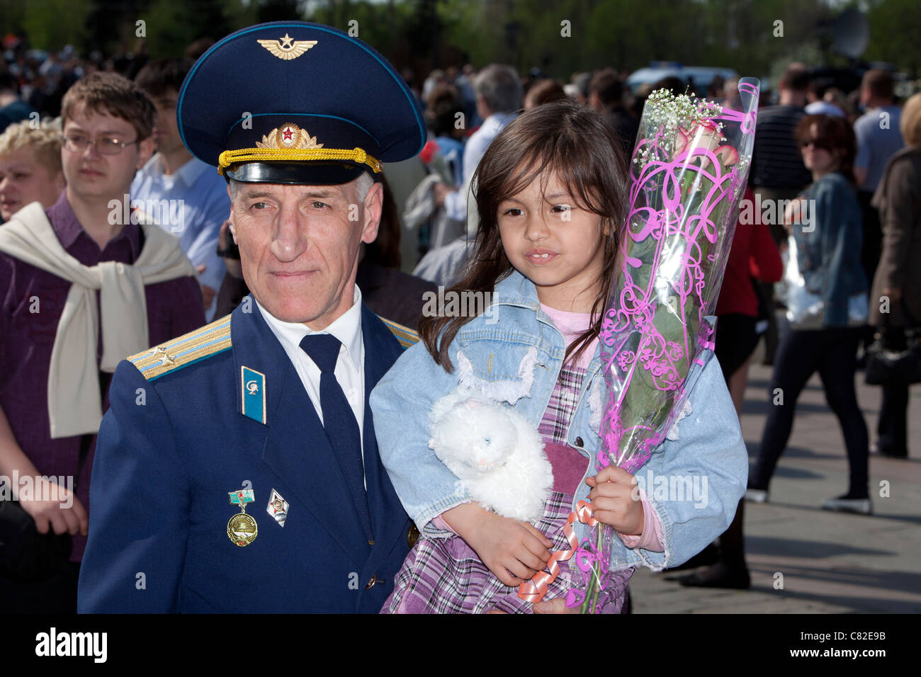 Russian Lieutenant Colonel celebrating the Red Army's World War II Victory on May 9 at Victory Park in Moscow, - Stock Image