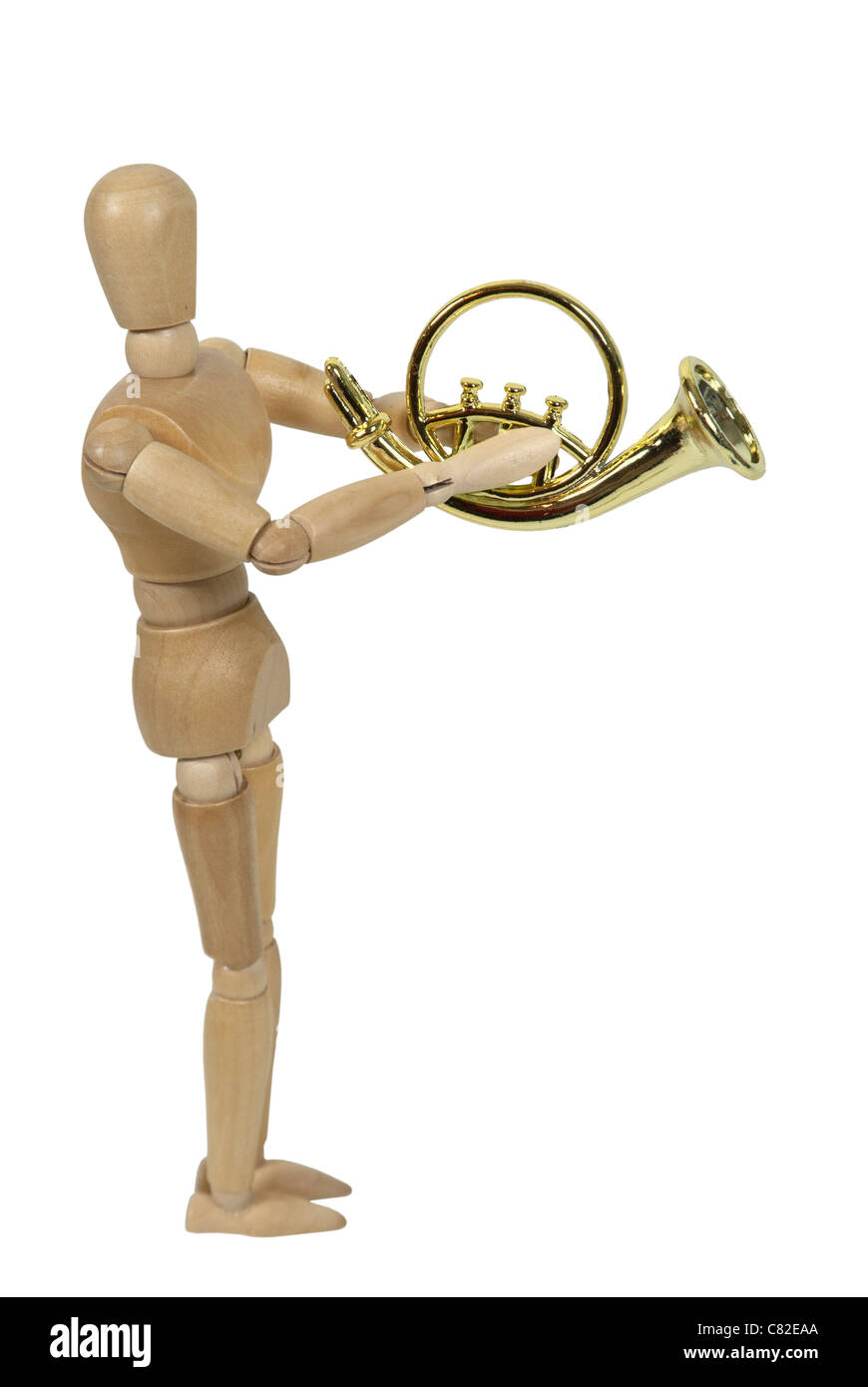 Model playing a shiny simple French Horn - path included - Stock Image