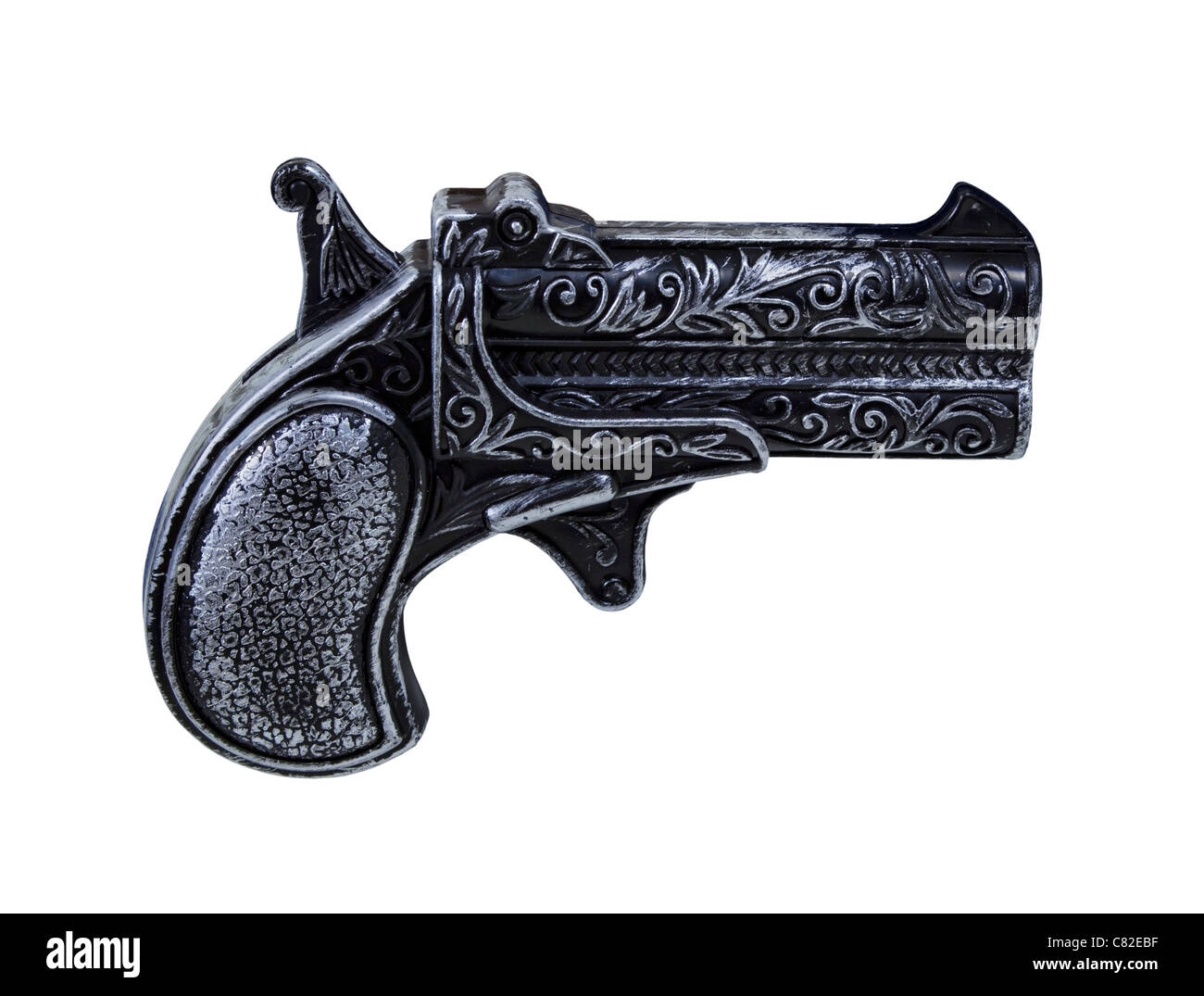 Small black toy pistol gun with silver highlights - path included - Stock Image