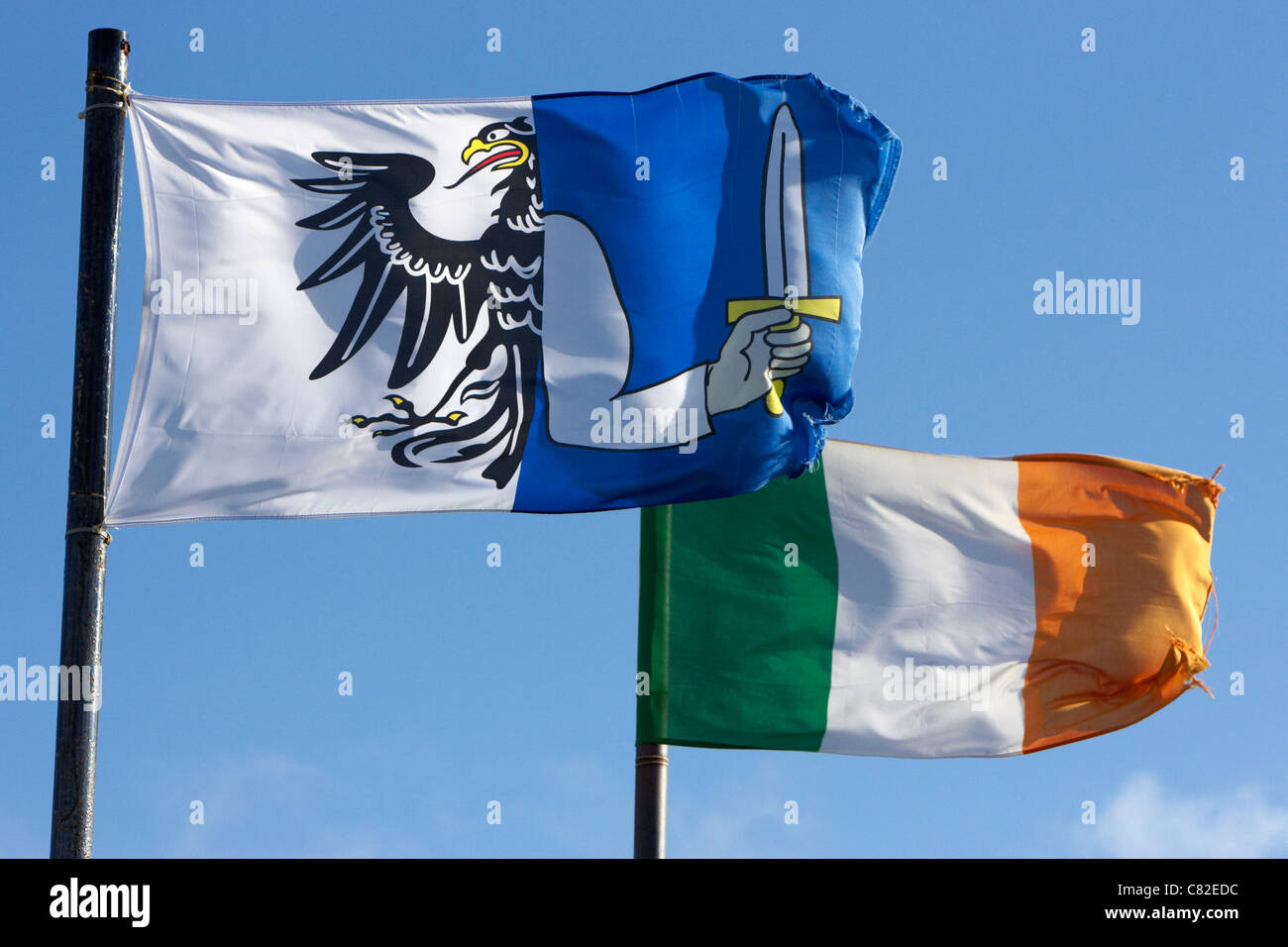provincial connacht and irish tricolour flags flying in republic of ireland - Stock Image