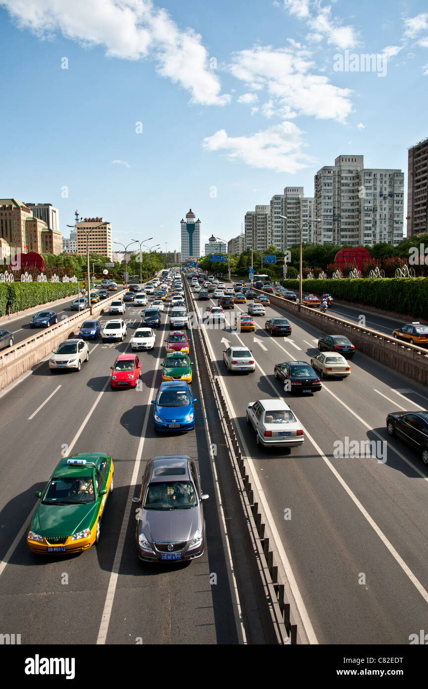 Congested traffic at Beijing's second ring road - Stock Image
