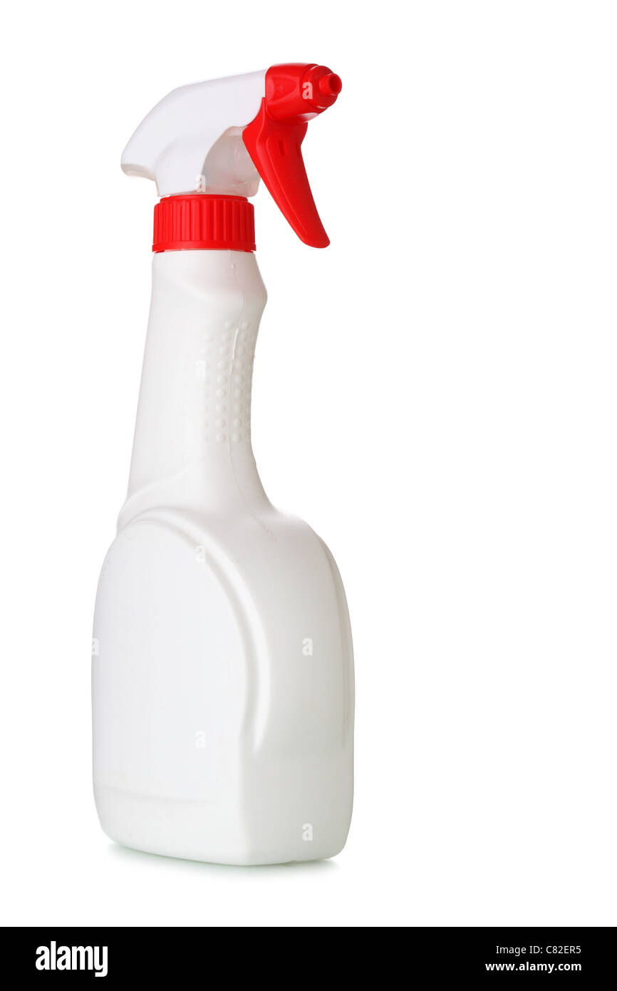 White spray bottle isolated over the white white background  - Stock Image