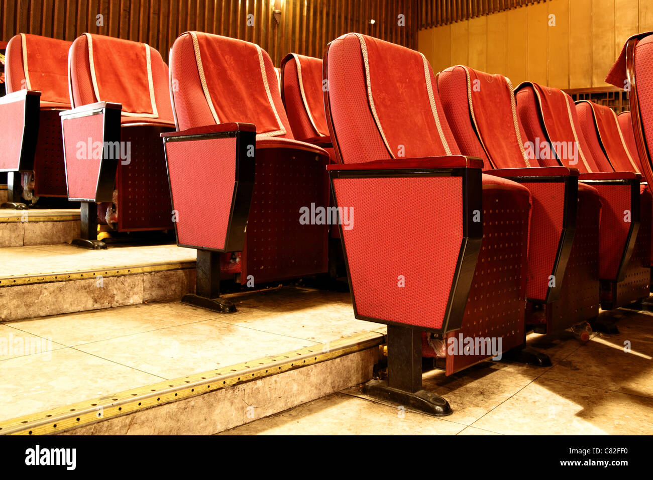 red theater chairs. Empty Red Theater Seats Close Up - Stock Image Chairs