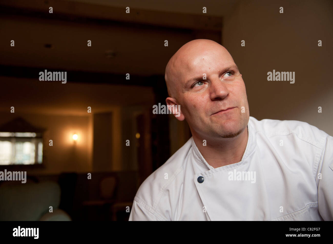 Chef proprietor Stéphane Borie of The Checkers restaurant in Montgomery Powys mid wales.The establishment was awarded Stock Photo
