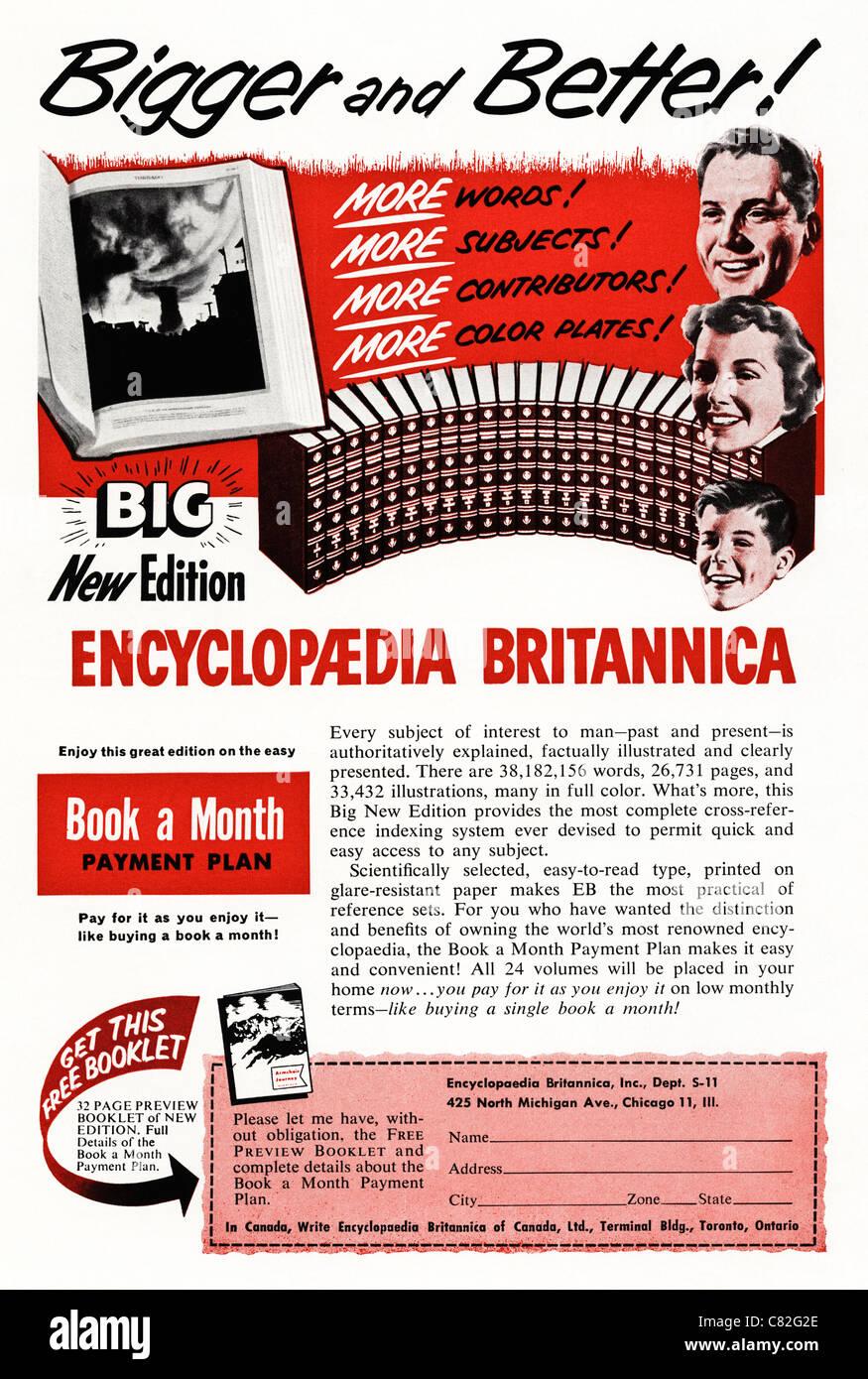 American magazine advertisement circa 1954 advertising ENCYCLOPEDIA BRITANNICA - Stock Image