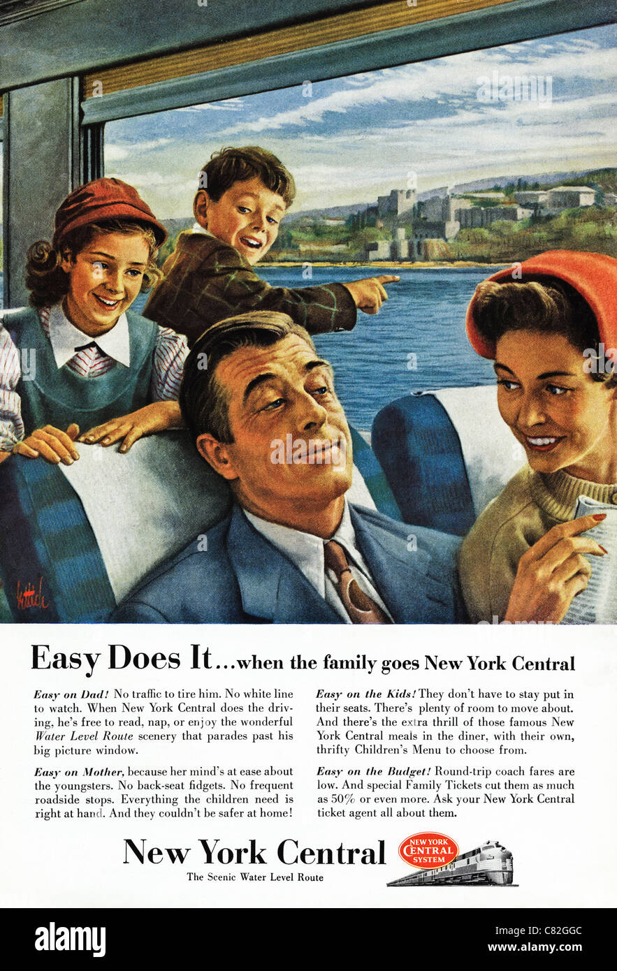 American magazine advertisement circa 1954 advertising family travel on NEW YORK CENTRAL railway - Stock Image