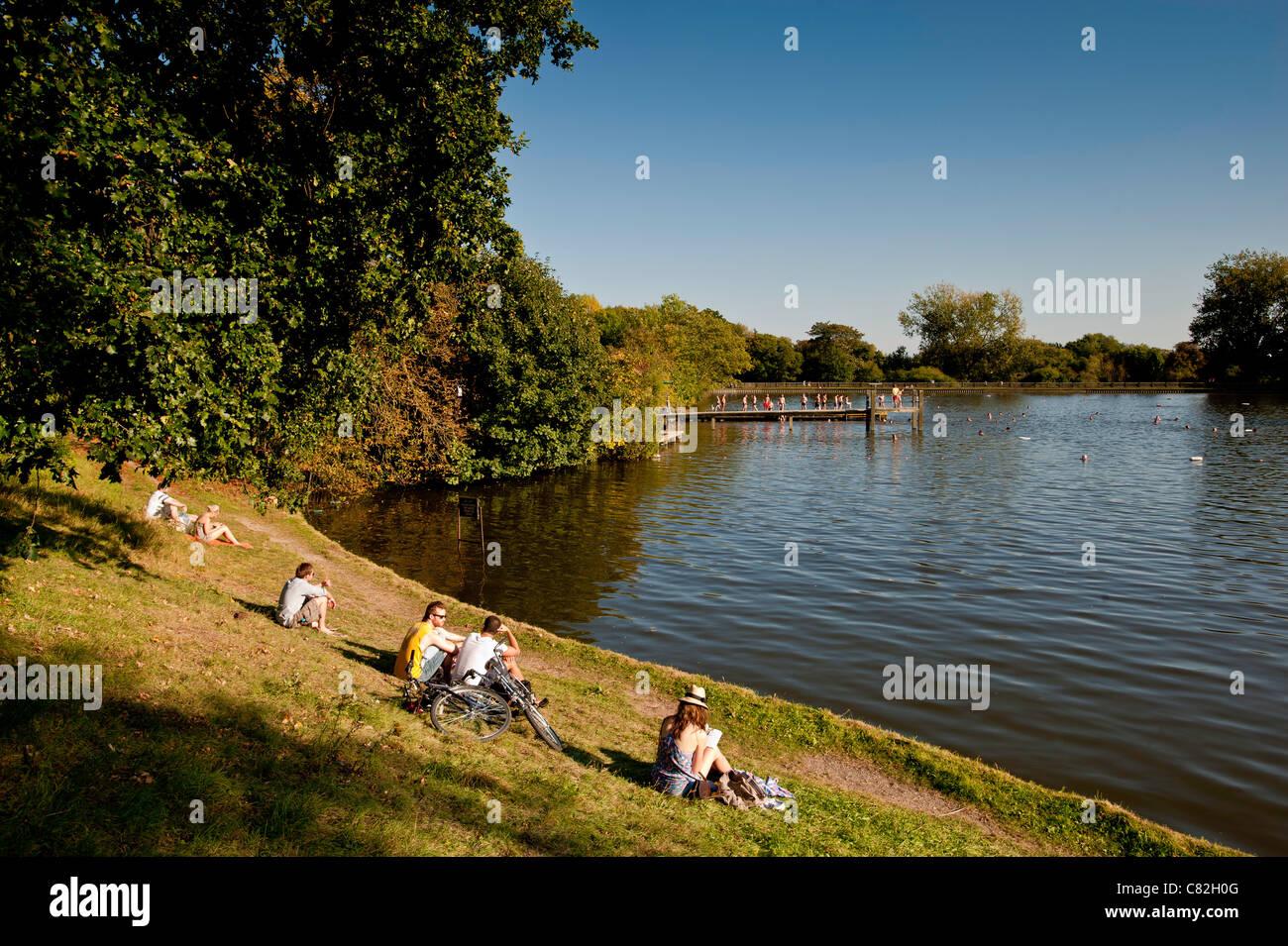 Highgate Mens Bathing Pond, Hampstead Heath, NW3, London, United Kingdom - Stock Image