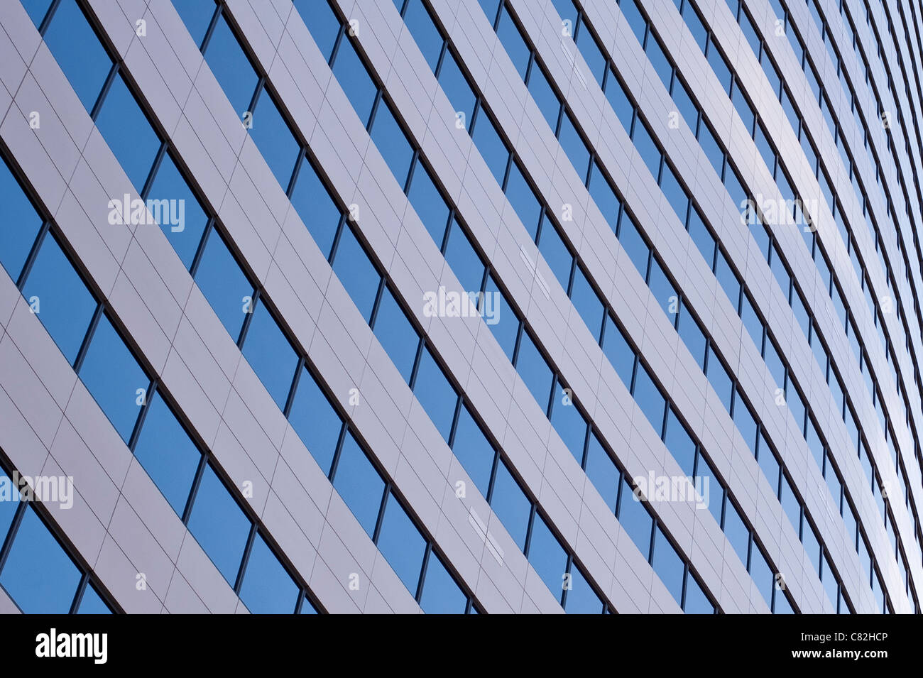 Downtown office buildings focus on glass windows Seattle Washington State USA - Stock Image